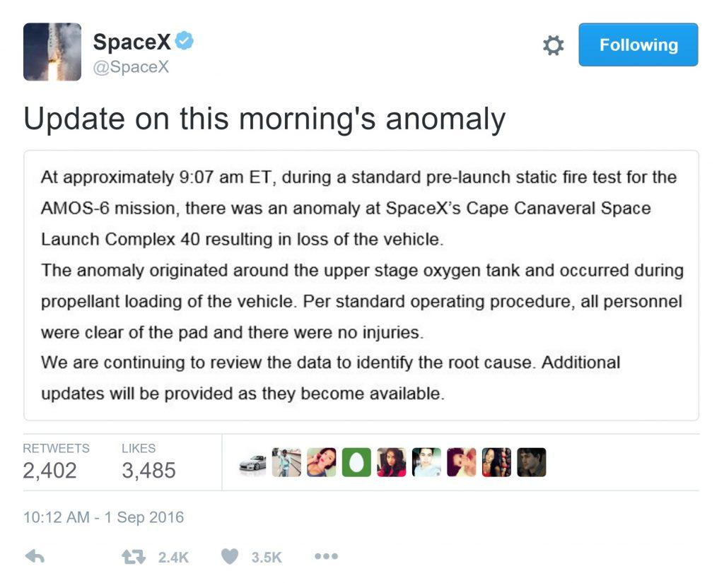 انفجار موشک فالکون 9 SpaceX
